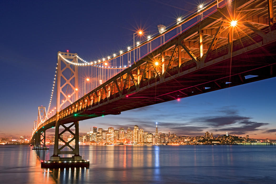 san francisco bay bridge from treasure island with holiday lights - Bay Area Christmas Lights
